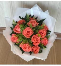 Buquê com 12 Rosas Salmão